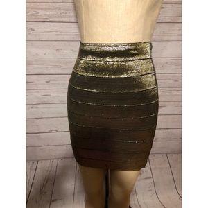 Forever 21 thick gold metallic bandage skirt